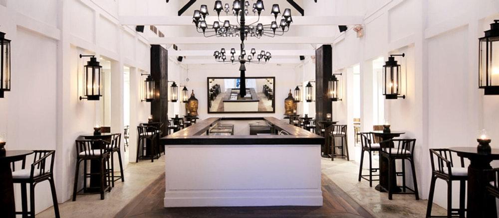 Tamarind Hill restaurant with chandelier